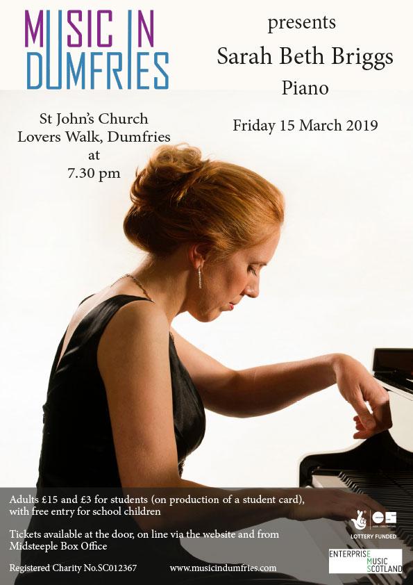 Sarah Beth Briggs, Piano - Friday 15 March 2019